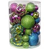 WeRChristmas Shatterproof Deluxe Christmas Tree Baubles, 50-Piece - Pink/Purple/Green/Blue