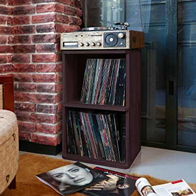 Way Basics 2-Shelf Vinyl Record Storage Cube and LP Record Album Storage Shelf, Espresso (Tool-Free Assembly and Uniquely Crafted from Sustainable Non Toxic zBoard paperboard): Kitchen & Dining