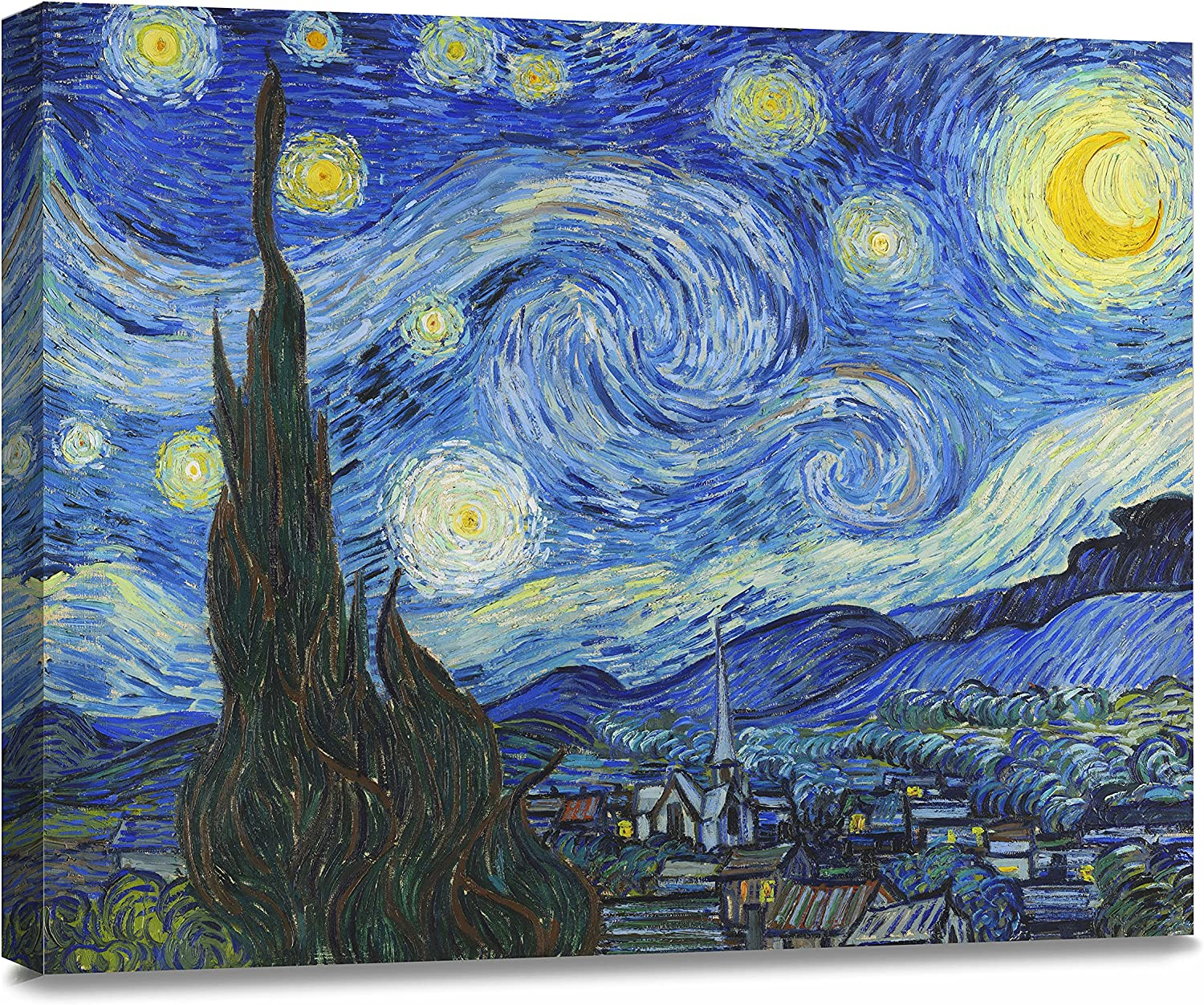 "ArtKisser Painting Starry Night 1889 by Vincent Van Gogh Canvas Wall Art Modern Giclee Abstract Landscape Home Decor Wooden Framed Stretched Prints on Canvas Reproduction Ready to Hang 16"" x 12"""