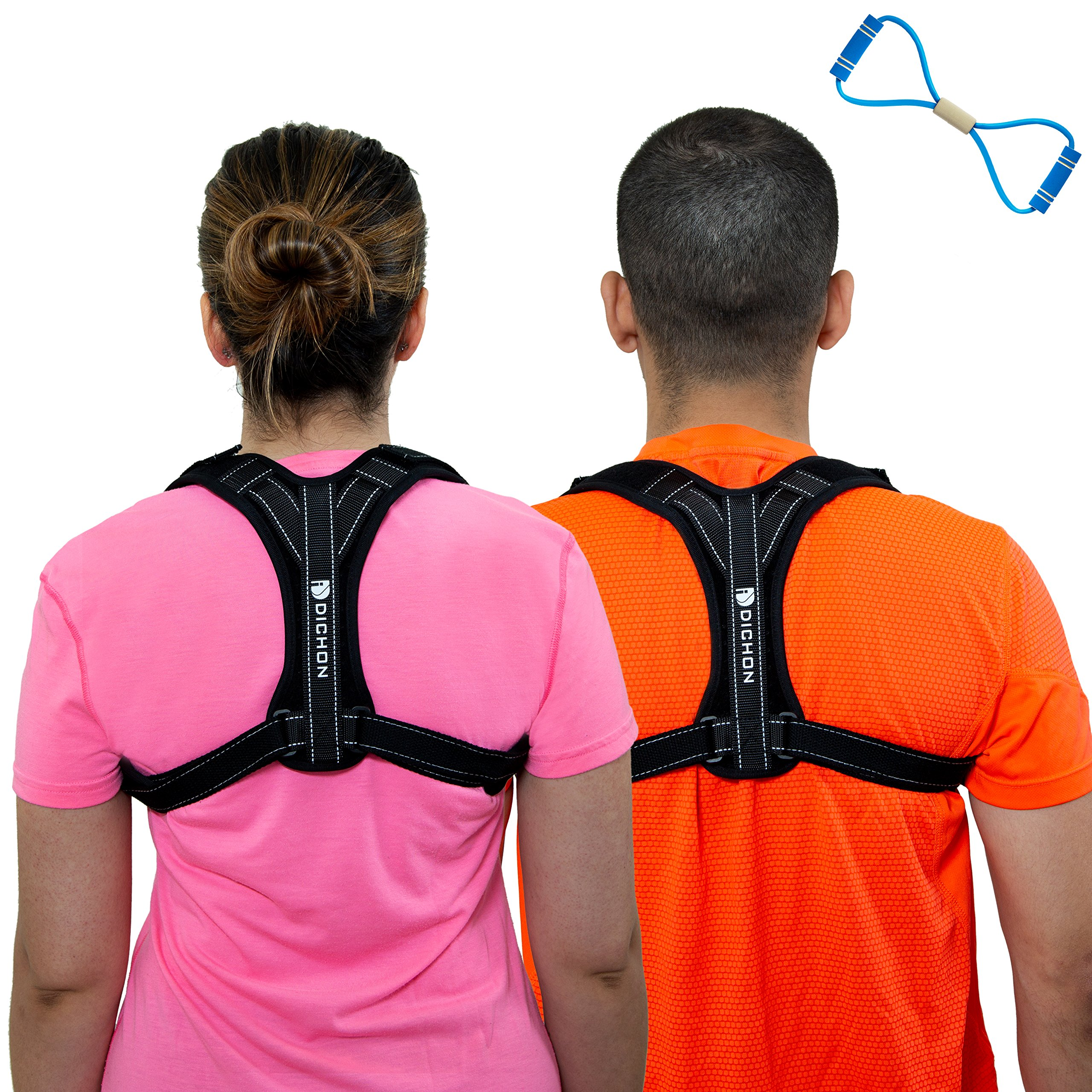 Dichon Innovations Posture Corrector Brace for Men and Women-Comfortable and Adjustable Clavicle Shoulder Support Complete with Underarm Pads and Yoga Strap, Discreet Design, Unisex Size