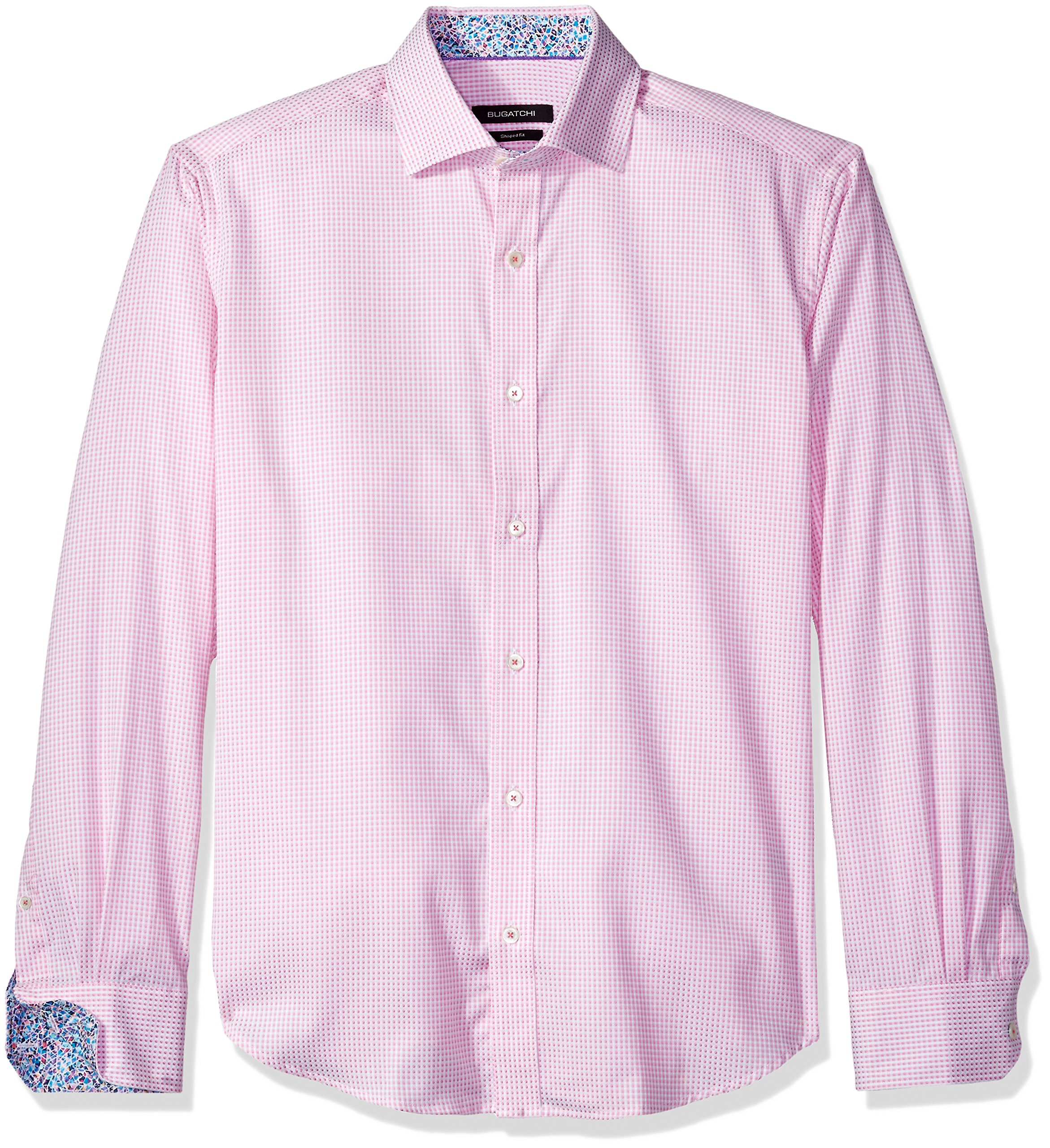 BUGATCHI Men's Cotton Shaped Fit Spread Collar Woven, Pink, X-Large