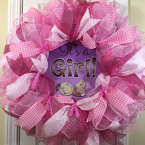 Amazon Com Its A Girl Wreath For Front Door With Deco Mesh Ribbon