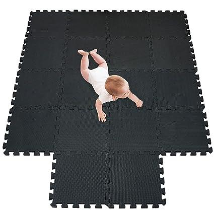 meiqicool Alfombrillas para Puzzles | Alfombra Puzzle para Niños Bebe Infantil Suelo de Goma EVA Suave 142 x 114 cm 18 Piezas Negro 04