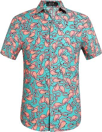 SSLR Camisa Manga Corta con Estampado de Flamencos Estilo Hawaiana de Hombre: Amazon.es: Ropa y accesorios