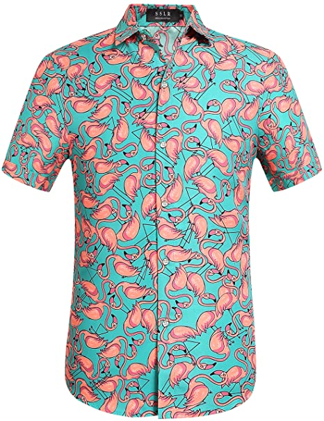 52b67320 SSLR Men's Flamingos Casual Button Down Short Sleeve Hawaiian Shirt (Small,  Green)
