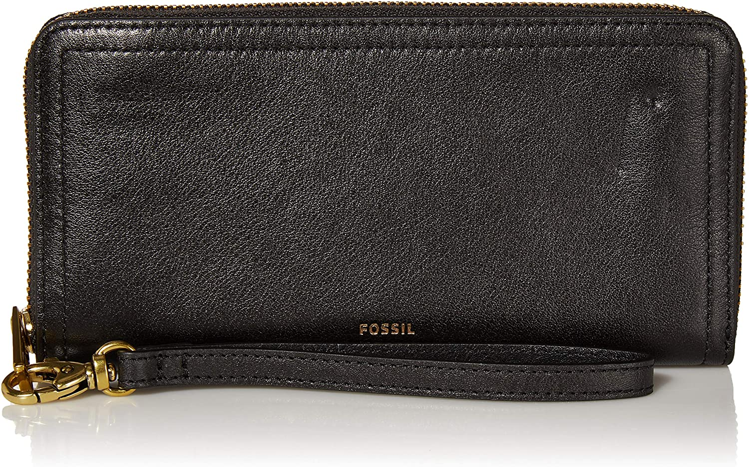 Fossil Women's Logan RFID-Blocking Leather Zip-Around Clutch Wallet with Wristlet Strap