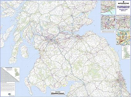 Scozia Cartina Stradale.Cartina Stradale Della Scozia Meridionale E Del Northumberland Carta Murale Regionale Laminata 3 Amazon It Cancelleria E Prodotti Per Ufficio