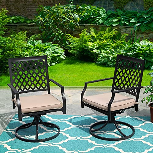 PHI Villa Outdoor Swivel Chair Patio Furniture Sets with Arm Seat Cushion for Garden Backyard Rocker Chairs – 2 PC