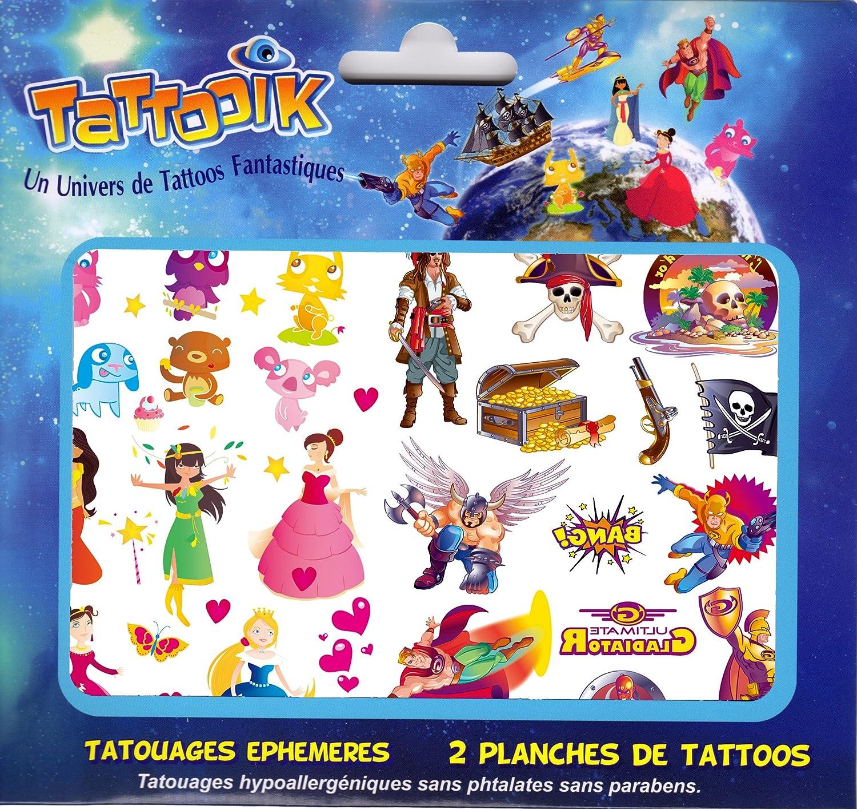 Tatouage Fille Garçon ephemere temporaire pirates princesses animaux super héros TATTOOIK MIXTE hypoallergénique Fabriqué en FRANCE Fille et Garçon. 2 planches 40 tattoos environ Enfant Urban' S store TAMP001