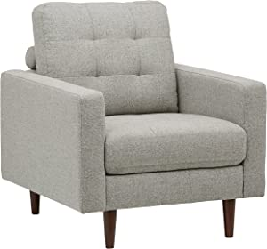 "Rivet Cove Modern Tufted Accent Chair with Tapered Legs, Mid-Century, 32.7""W, Light Grey"