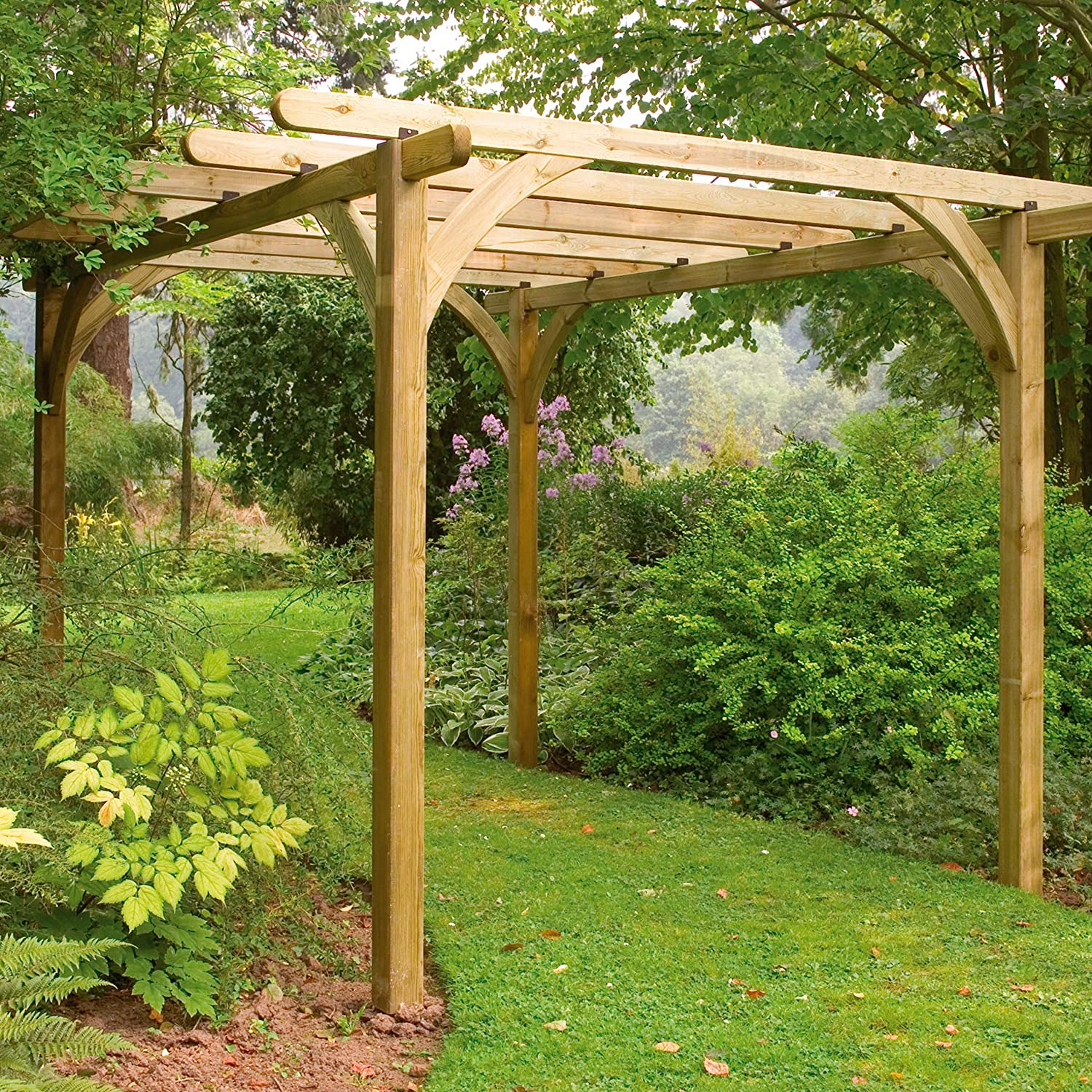 Konstsmide Bosque upk01hd 2, 7 x 2, 7 m Ultima Kit Pergola, Color Gris: Amazon.es: Jardín