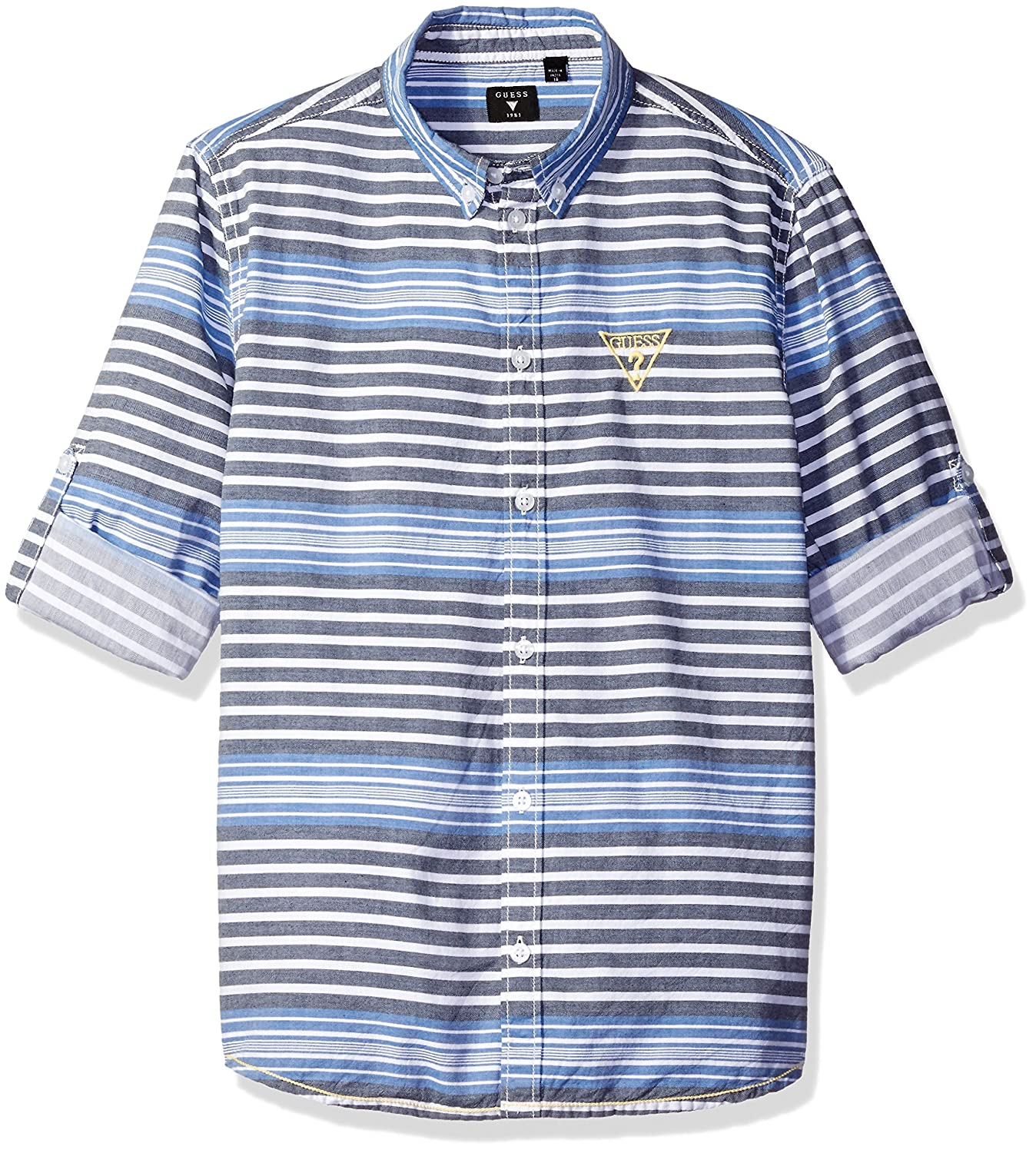 GUESS Boys Big Yarn Dyed Stripe Button Fron Shirt