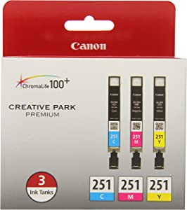 Canon CLI-251 CYAN,MAGENTA,YELLOW Ink, Compatible to MX922,MG7520,MG7120,MG6620,MG5620,iP8720,MG6420,MG6320 and MG5420, 3/Pack