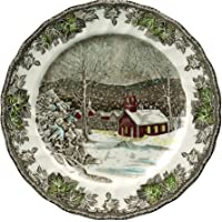 """Johnson Brothers A4038101005 Friendly Village Dinner Plate, 10"""", Red/Green/Silver/Blue"""