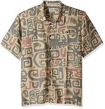8ea66b82 Quiksilver Waterman Men's Olowalu Comfort Fit Hawaiian Shirt, Khaki, ...