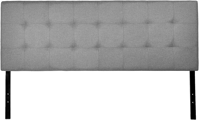 AmazonBasics Faux Linen Upholstered Headboard - Grey, Queen