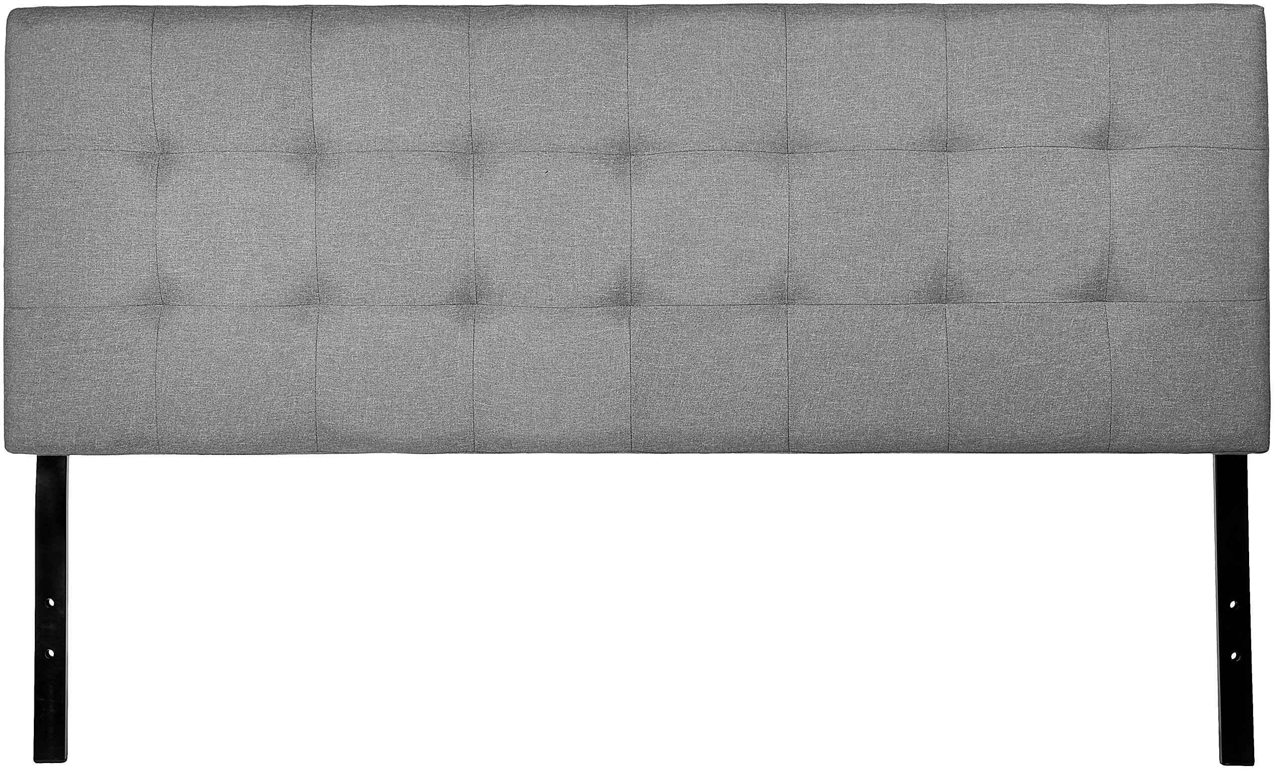 AmazonBasics Faux Linen Upholstered Tufted Headboard - Queen, Grey by AmazonBasics