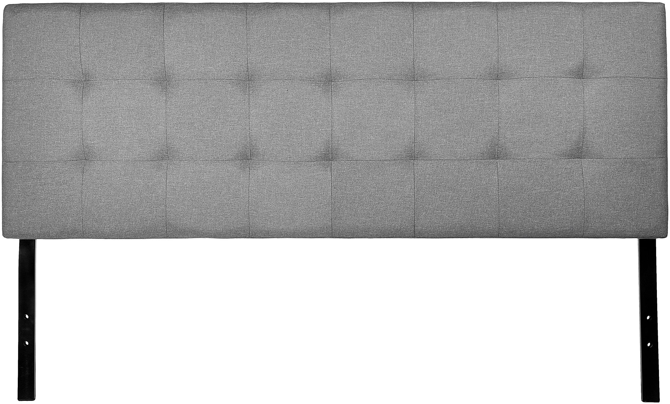 AmazonBasics Faux Linen Upholstered Tufted Headboard - Full, Grey by AmazonBasics