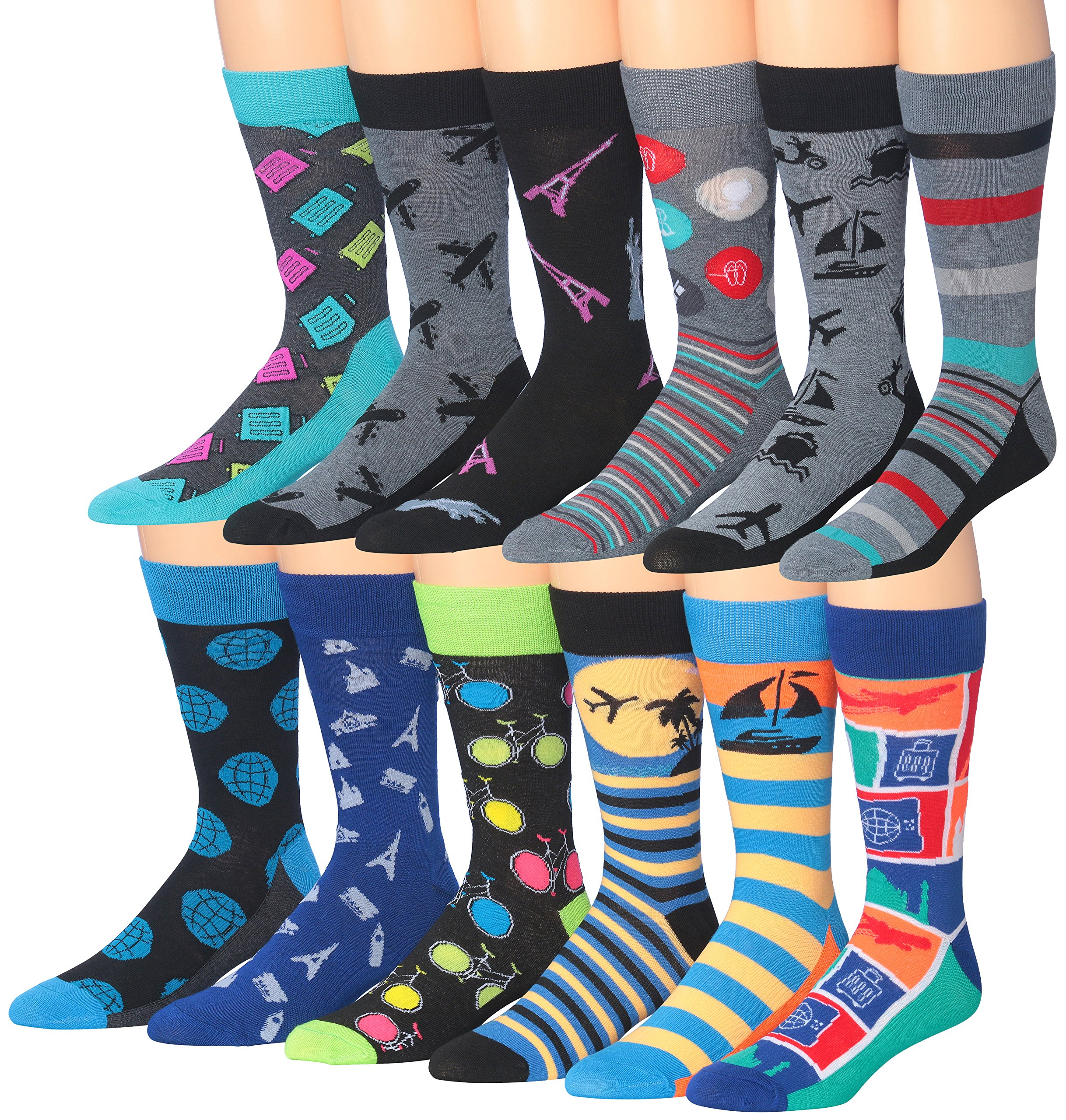James Fiallo Men's 12 Pairs Cotton Funky Crazy Crew Winter Dress Socks, sock size, M190…