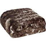 """Brielle Faux Fur Oversized Throw, 50"""" by 70"""", Tundra Swan Dark Brown"""