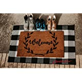 Scarlett Arrow Outdoor Rug - Large Black & White Buffalo Checkered Floor Mat for Porch, Front Door, Kitchen & Bathroom - Washable Thick Plaid Hand-Woven Fabric - Trendy Home Decor - 27.5 x 43 Inches