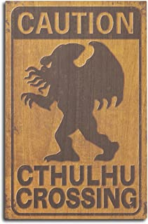 product image for Lantern Press Cthulhu Crossing (10x15 Wood Wall Sign, Wall Decor Ready to Hang)