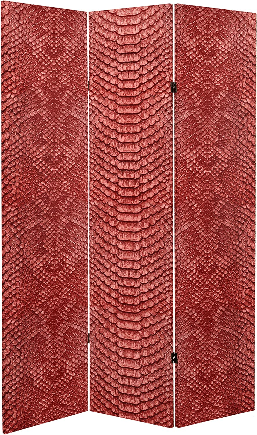 ORIENTAL Furniture 6 ft. Tall Double Sided Red Snake Print Canvas Room Divider