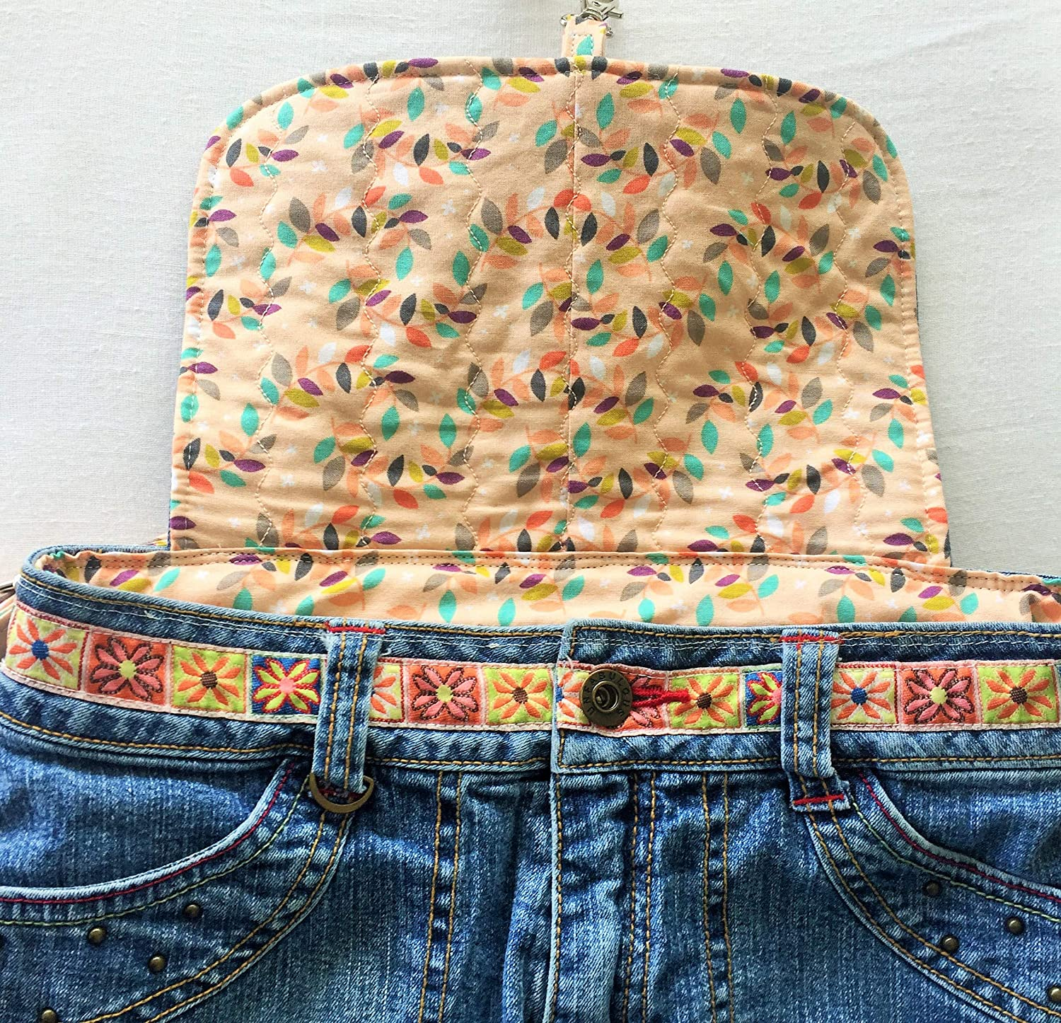 Upcycled Unfabulous Jeans Backpack Eco Friendly Denim Book Bag Floral Fabric Embroidered Studded