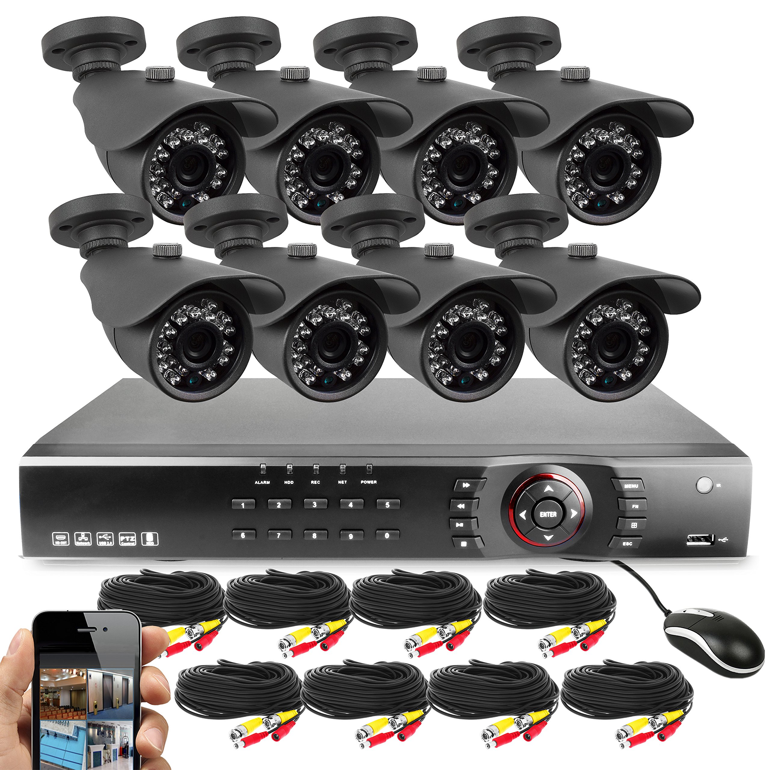 Best Vision Systems 16CH 1TB 1080N DVR Security Surveillance System with (8) 2MP AHD Outdoor Bullet Cameras