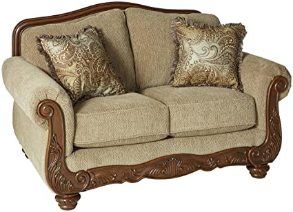 Ashley Furniture Signature Design   Martinsburg Loveseat Sofa   Traditional  Style Couch   Meadow With Brown