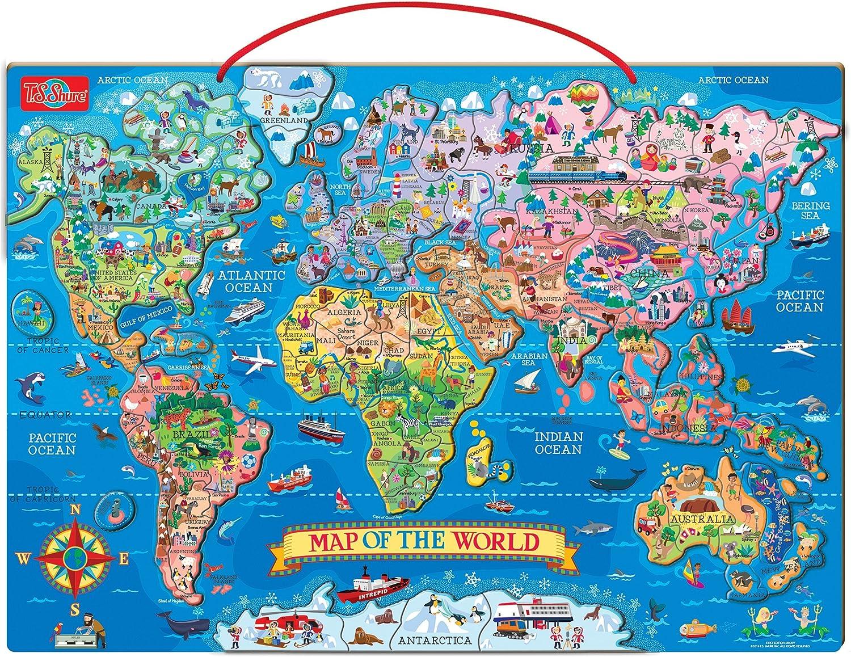 T.S. Shure Madera Magnético Mapa del Mundo: Amazon.es: Juguetes y ...