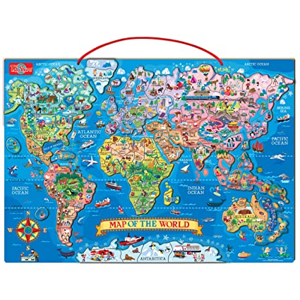 Amazon.com: T.S. Shure Wooden Magnetic World Map Puzzle: Toys & Games