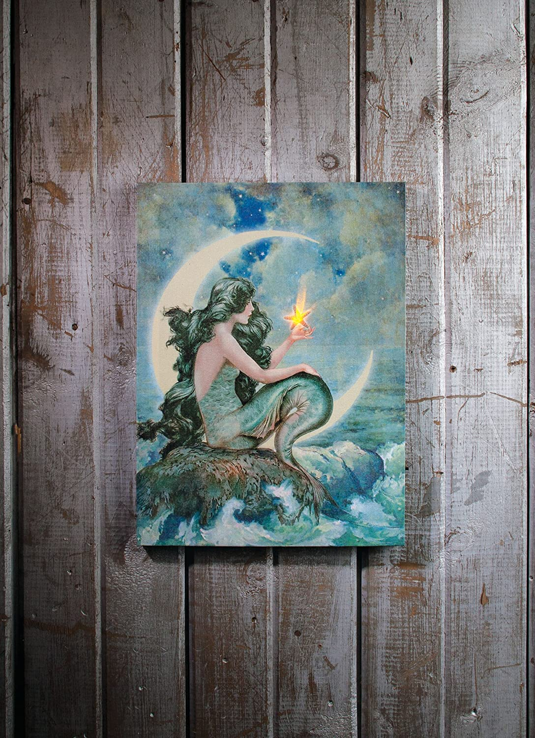 Amazon.com: Ohio Wholesale Radiance Lighted Moon Mermaid Canvas Wall Art,  From Our Water Collection: Wall Decor: Paintings