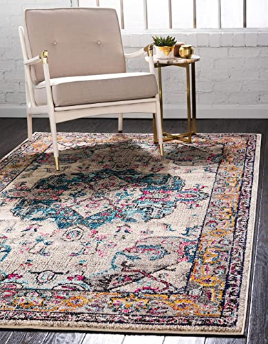 Unique Loom Medici Collection Light Colors Medallion Traditional Beige Area Rug 5 0 x 8 0