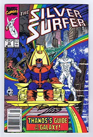 silver surfer 35 fine signed w coa ron lim thanos infinity gauntlet