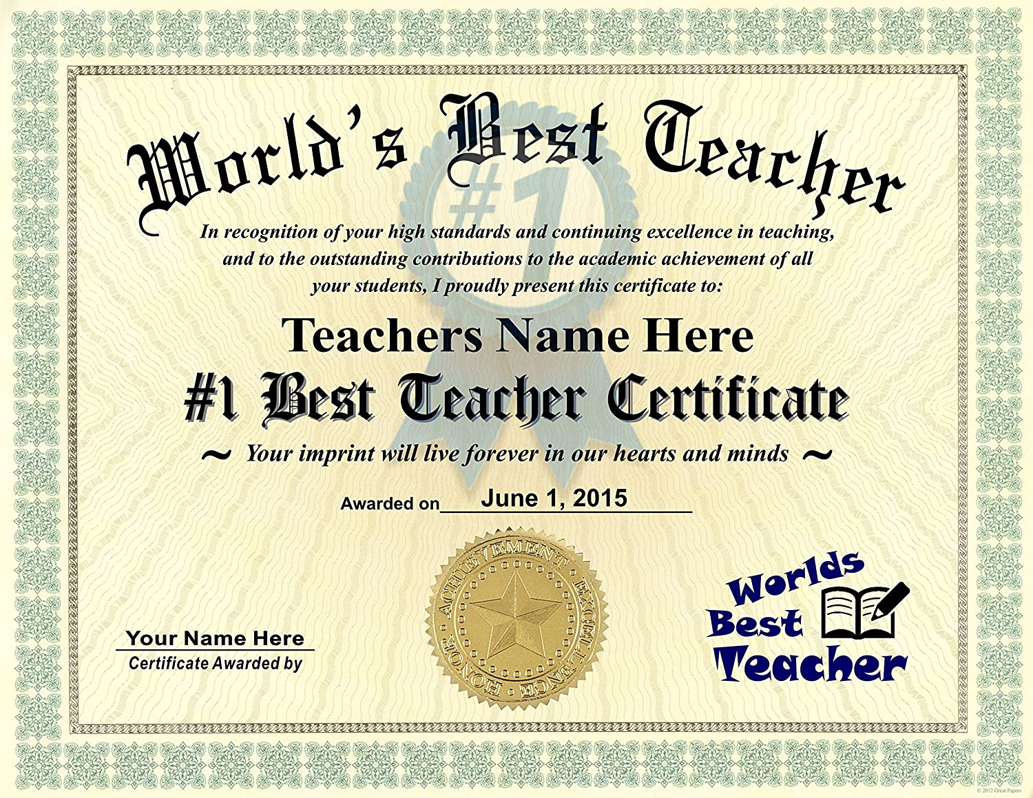 Amazon Worlds Best Teacher Certificate Award Custom Printed