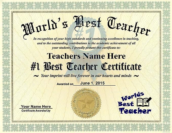 Amazon.com : Worlds Best Teacher Certificate Award - Custom Printed ...