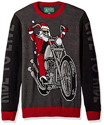 f914983e Ugly Christmas Sweater Company Men's Motorcycle Santa-Live to Ride Sweater  at Amazon Men's Clothing store: