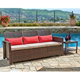 Suncrown Outdoor Furniture Patio Sofa Couch (Seats 3) Garden, Backyard, Porch or Pool | All-Weather Wicker with Thick Cushions | Modern Open-Back Weaving | Easy to Assemble