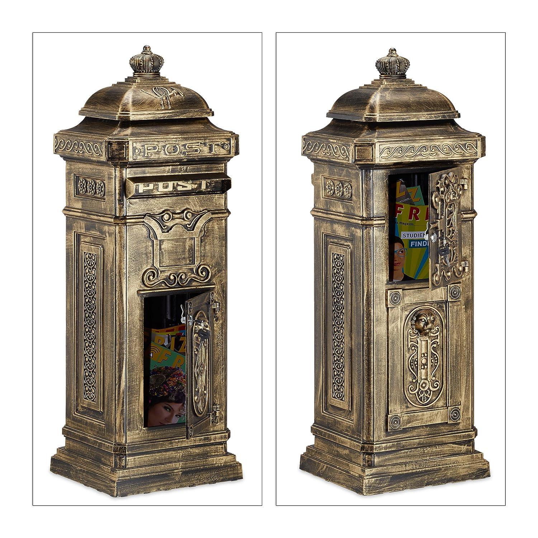 bronze 106 x 38 x 34 cm nostalgischer S/äulenbriefkasten aus rostfreiem Aluminium englischer Briefkasten Postkasten in britischem Design mit Posthorn Relaxdays Standbriefkasten Antik HBT