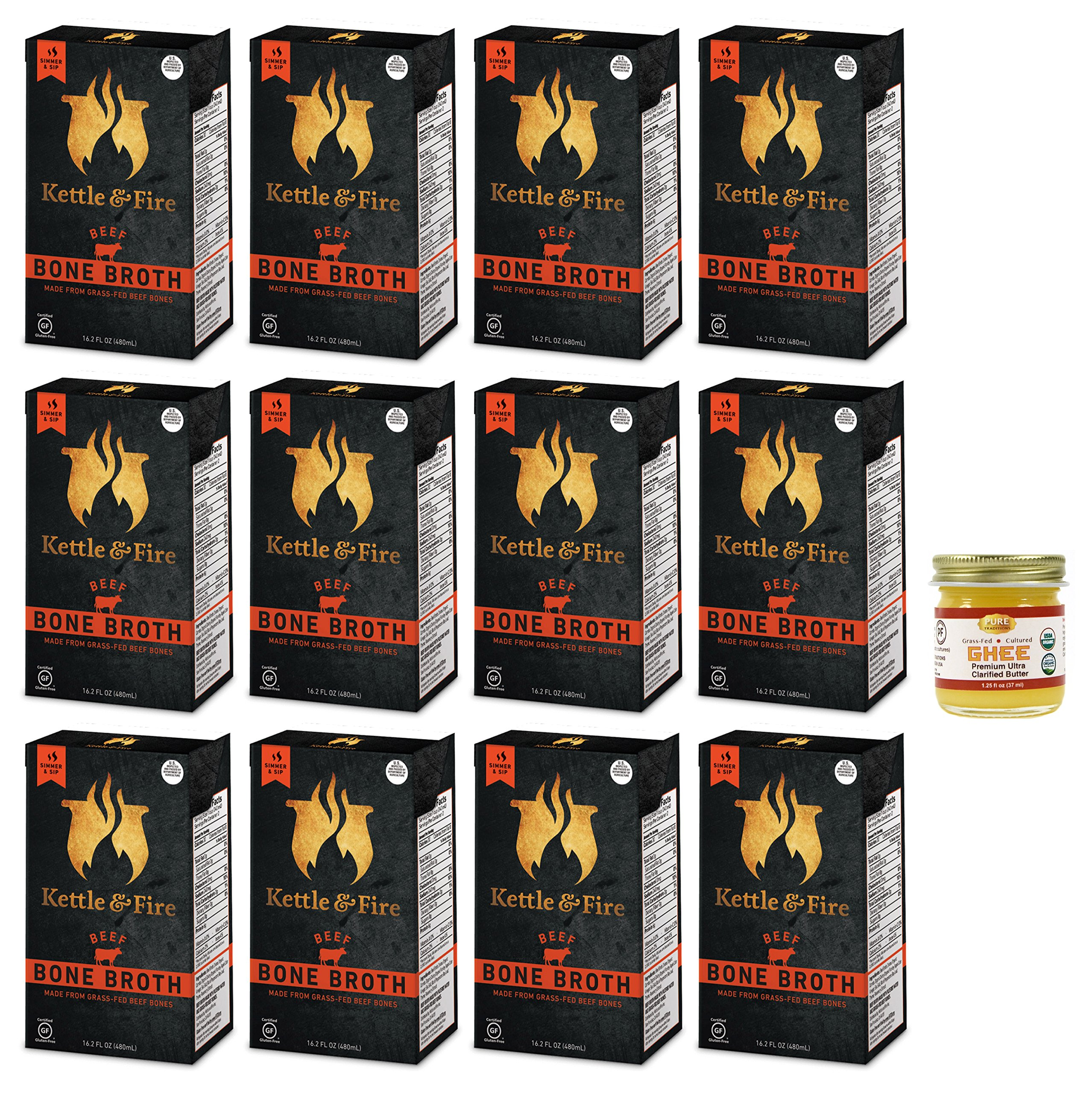 Kettle & Fire - 12 Organic Beef Bone Broths with Pure Traditions ghee - ( 12 Beef Broth 16.2 oz with one 1.25 oz ghee)