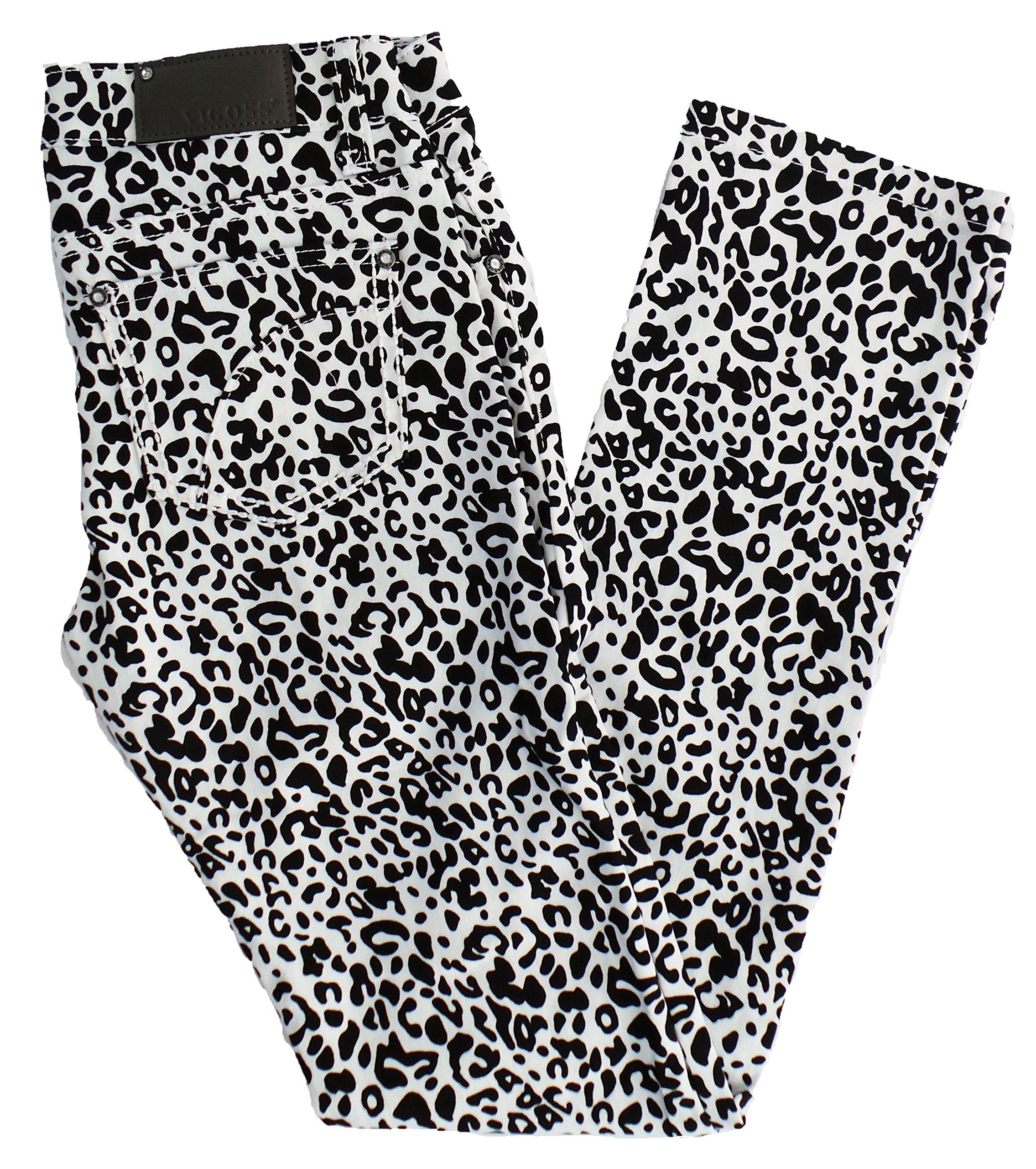 Vigoss Jeans Big Girls 5 Pocket Leapord Print Skinny Leggings, 12