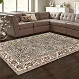 Superior Lille Area Rug Collection, 8mm Pile Height with Jute Backing, Anti-Static, Water-Repellent, Grey - 5' x 8'