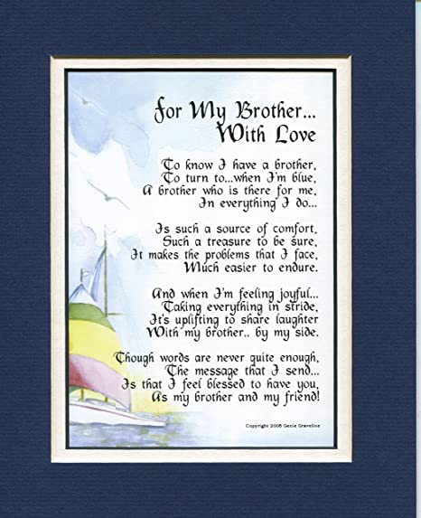 For My Brother With Love  #65, A Gift Present Poem For A Brother  30th 40th  50th 60th Birthday Gift