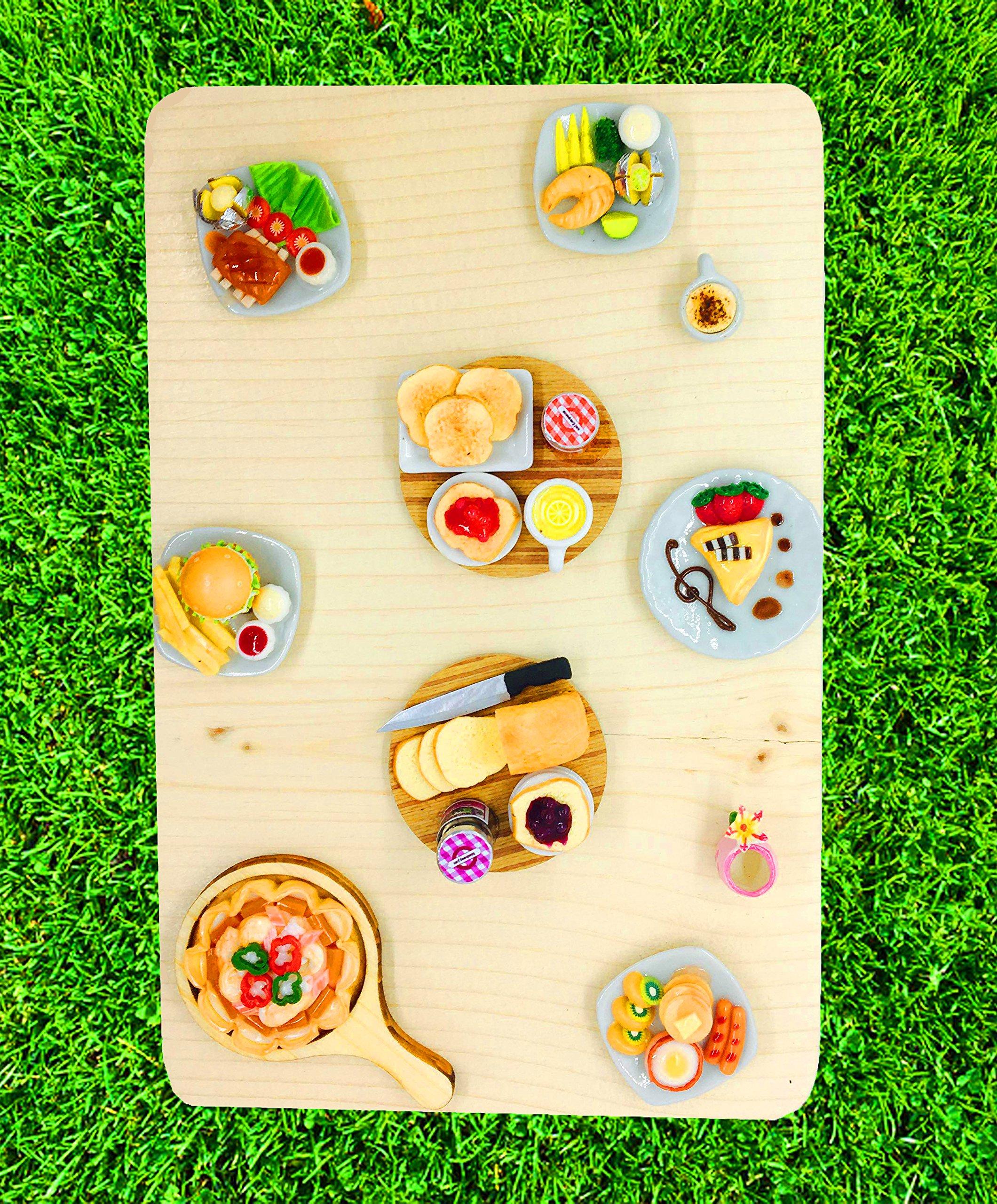 Little World Dollhouse Miniature Food: Breakfast Set [ Strawberry Yam, Toast and Lemon Tea], Breakfast Set Collectibles, Size 1.38' [3.5 cm] Diameter,The Same Size as Barbie Dollhouse.