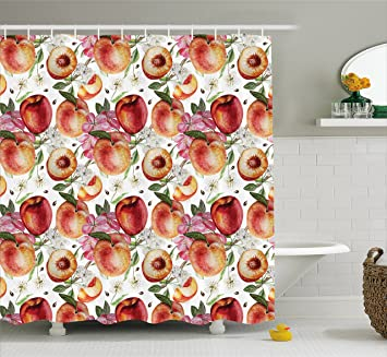 Peach Shower Curtain By Ambesonne, Exotic Lively Summer Yard Theme With  Ripe Juicy Fruits Flowers