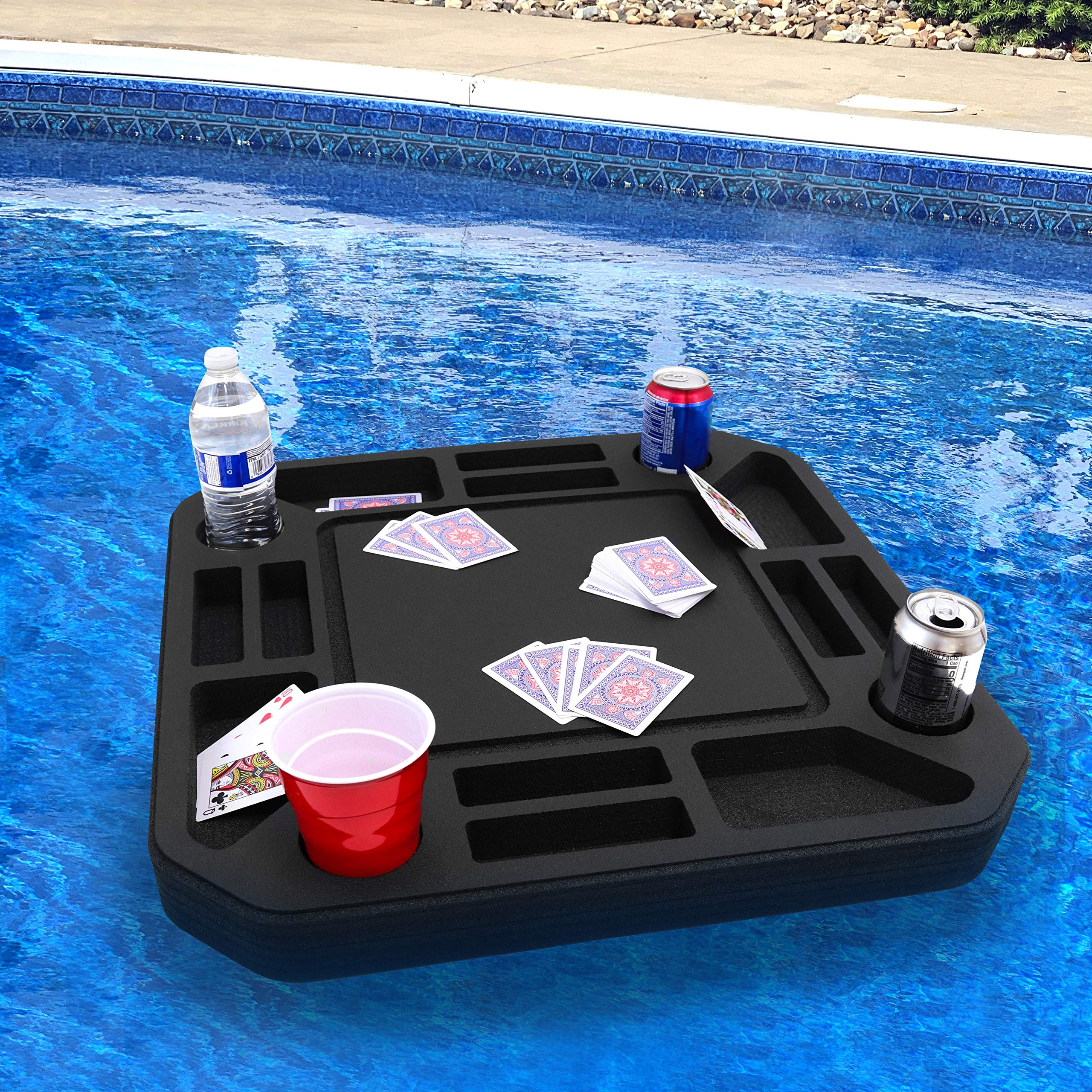 Polar Whale Floating Medium Poker Table Game Tray for Pool or Beach Party Float Lounge Durable Foam 23.5 Inch Chip Slots Drink Holders with Waterproof Playing Cards Deck UV Resistant Made in USA by Polar Whale