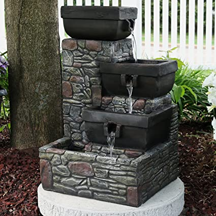 Exceptionnel Sunnydaze 4 Tier Stacked Stone Square Bowls Outdoor Water Fountain With LED  Lights, 22