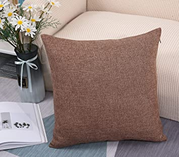 Amazon Com Tangdepot Heavy Lined Linen Cushion Cover Throw Pillow Cover Euro Shams European Throw Pillow Covers Indoor Outdoor 28 X28 Mocha Home Kitchen