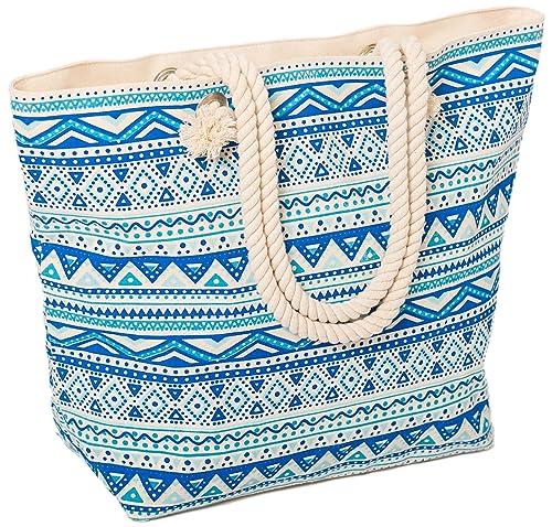 Airee Fairee Bolsa de playa grande del verano para mujer 47 x 35 x 15 cms - Patrón azteca